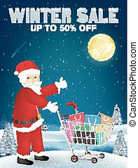 winter sale santa claus and shopping cart with bag