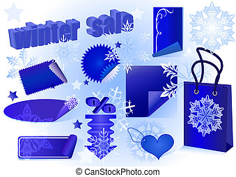 Winter sale set vector illustration.