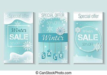 Winter sale Special offer flyer, banner, instagram story, poster. Vector illustration