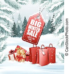 Winter Sale Tag on christmas background with branches of tree and shopping bags. Vector