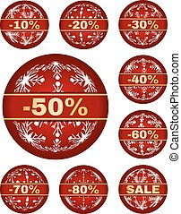 winter sale tags with 10 - 80 percent text