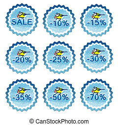 Winter sale tags with chickadee