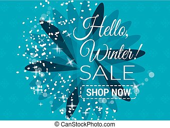 Winter sale text vector illustration in winter background of blue color with snowflakes and lights for seasonal promotion.. Vector illustration.