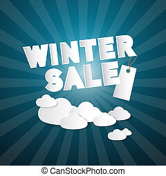 Winter Sale Title on Abstract Blue Sky Background With Clouds and Label