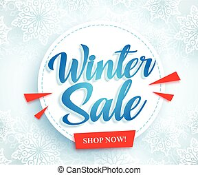 Winter sale vector banner design with white circle and blue sale typography text
