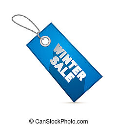 Winter Sale Vector Blue Tag, Label