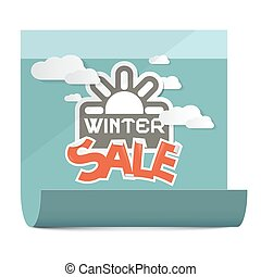 Winter Sale Vector Illustration on Paper Sheet Isolated on White Background