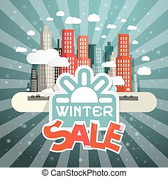 Winter Sale Vector Illustration with City, Clouds and Sun