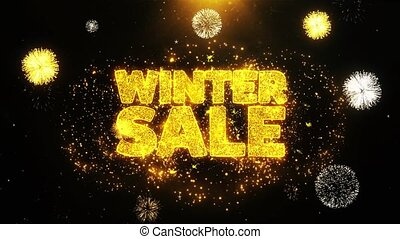 Winter Sale Wishes Greetings card, Invitation, Celebration Firework Looped