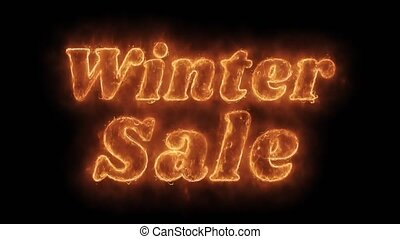 Winter Sale Word Hot Animated Burning Realistic Fire Flame...