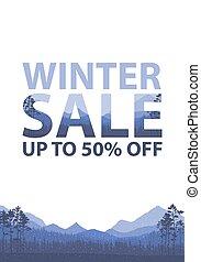 Winter sale words on the beautiful Chrismas flat Winter...