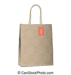 Winter sales shopping bag with snowflakes