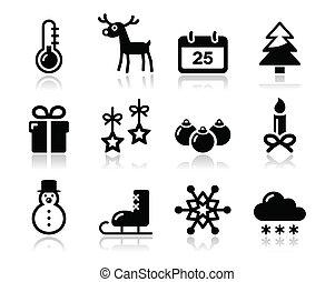 winter, satz, schwarz, weihnachten, heiligenbilder