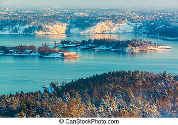 Winter Scandinavian scenery - Scenery of winter sunset in...