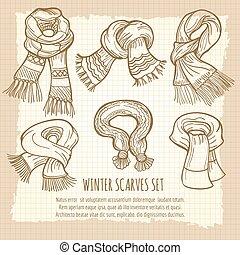 Winter scarves set on vintage backdrop