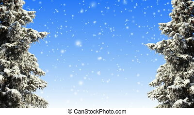 Winter scene and animated snow loop