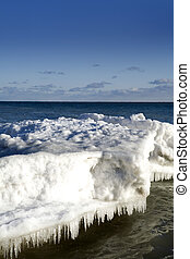 winter scene - beautiful winter nature scene, snow and ice...