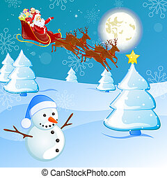 vector illustration of santa`s sleigh flying over a winter landscape