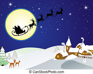 vector illustration of santas sleigh over the town
