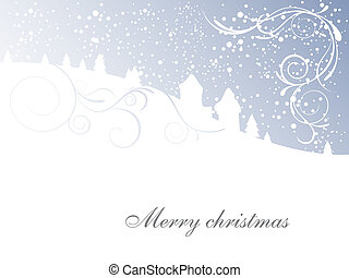 winter scene - christmas card - vecxtor illustration of a ...