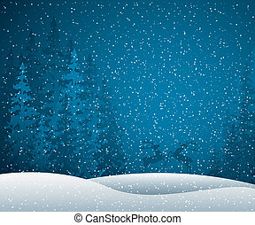 Winter scene - Christmas card with winter evening in blue...