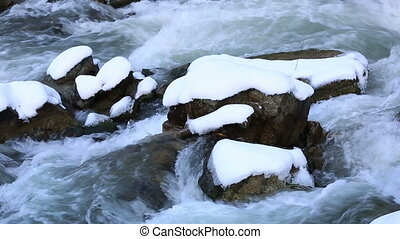 winter scene - flowing river in winter