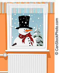 Winter scene from the snowman through window