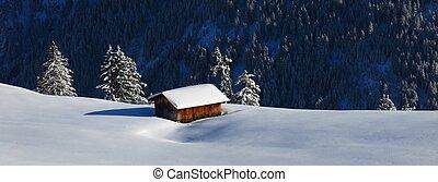 Winter scene in the Bernese Oberland, Switzerland. Snow...