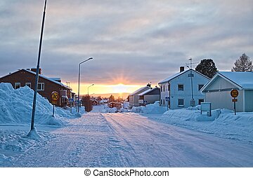 Winter scene on a street in the small Swedish Town of Norsjo