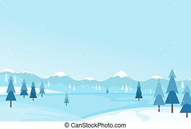 Winter Scene Snow Landscape with Pine Trees Mountain Vector Illustration