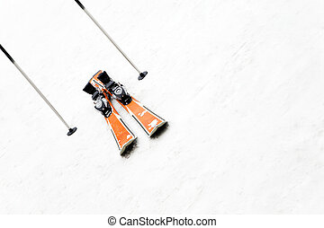 winter scene: a pair of skis left on the snow. Copy space