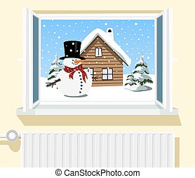 Winter scene through opened window, illustration