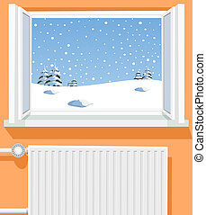 Winter scene through opened window, illustration