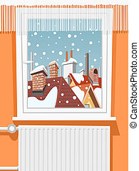 Winter scene through window, illustration