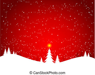 winter scene - Winter scene with glowing star atop a...