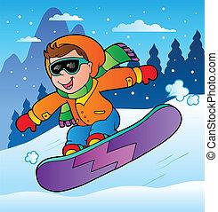 Winter scene with boy on snowboard - vector illustration.