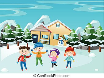 Winter scene with children standing in front of the house