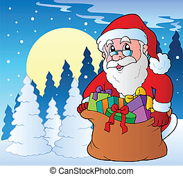 Winter scene with Christmas theme 2
