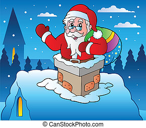 Winter scene with Christmas theme 4 - vector illustration.