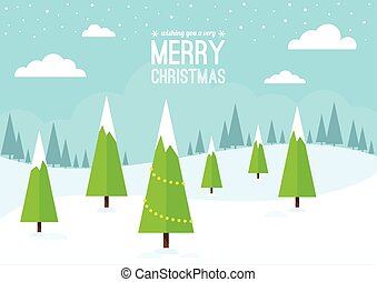 Winter Scene with Christmas Trees