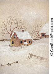 Winter scene with farmhouse, digitally altered