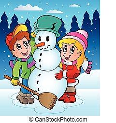 Winter scene with kids 2 - vector illustration.