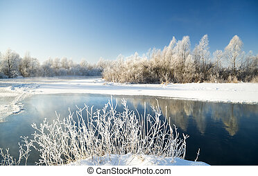 winter scene with river background.
