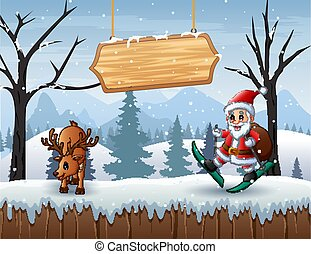 Winter scene with Santa Claus and a deer on the snow