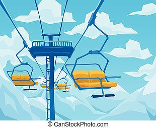 Winter scene with ski lift, mountains landscape and blue...