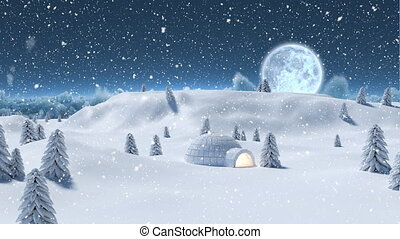 Winter scenery at night