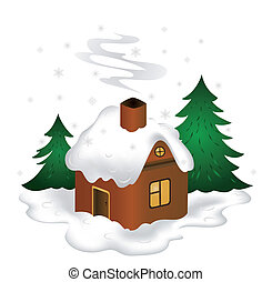 Winter scenery - Illustration of winter scenery with...