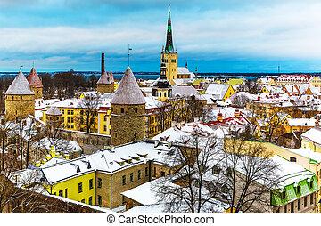 Winter scenery of Tallinn, Estonia - Scenic winter aerial ...