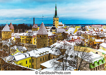 Winter scenery of Tallinn, Estonia - Scenic winter aerial...