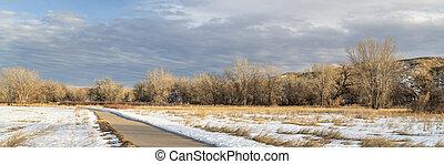 winter scenery on a bike trail in Colorado